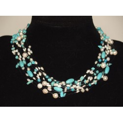 Necklace turquoise white