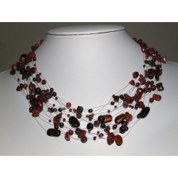 Necklace red brown with...