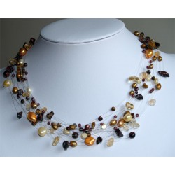 Necklace yellow gold brown