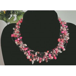 Necklace pink rose